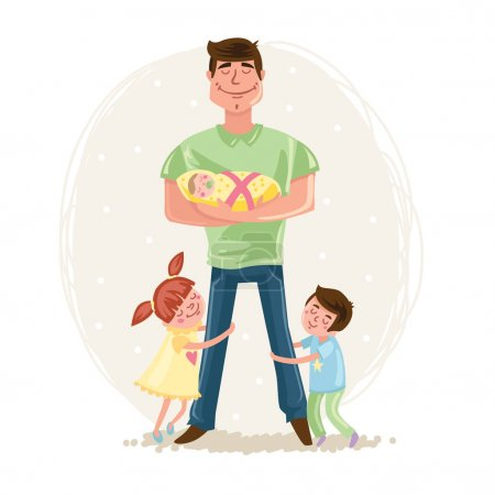 Illustration for Happy Father day postcard, cartoon hand drawn vector illustration - Royalty Free Image