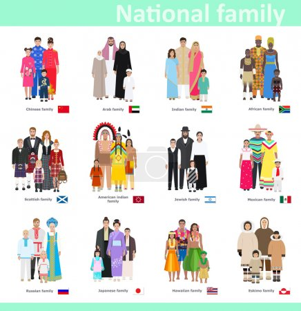 Families in national costume, vector illustration