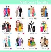 """Постер, картина, фотообои """"Семьи в национальном костюме, векторные иллюстрации"""""""