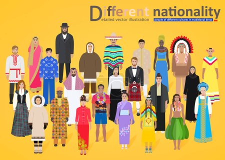 Different peoples of the world on a yellow background, vector
