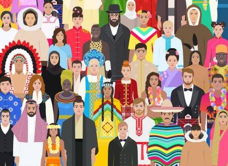 Photo pour Foule de gens de différentes races en costumes nationaux, illustration vectorielle de fond - image libre de droit
