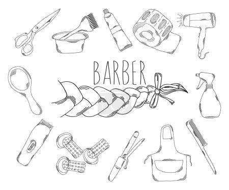 Illustration pour Grande collection d'icônes de ligne en style dessiné à la main pour la profession de coiffeur. Illustration vectorielle - image libre de droit