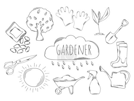 Photo for Large collection of line icons in hand drawn style for the profession of gardener. Vector illustration - Royalty Free Image