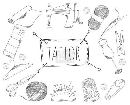 große Sammlung von Liniensymbolen in handgezeichnetem Stil für den Schneiderberuf. Vektor