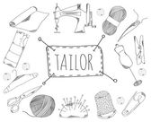 Large collection of line icons in hand drawn style for the profession of tailor. Vector