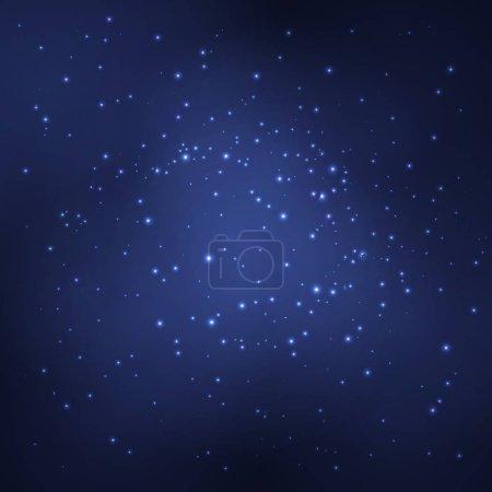 Illustration pour Fond abstrait avec des objets blancs lumineux. Le ciel étoilé. Illustration vectorielle - image libre de droit