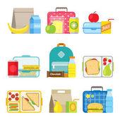 Children's school lunch box icon in flat style