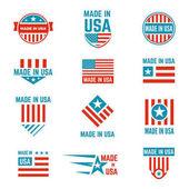 Made in USA flag emblem set
