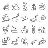 Gmo icon set Genetically modified organism altered by means of genetic engineering organisms created in a laboratory Vector line art illustration isolated on white background