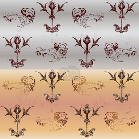 Fabulous plants and angry cocks - seamless wallpaper.
