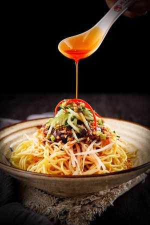 Photo for Spaghetti with chicken and tomato sauce - Royalty Free Image