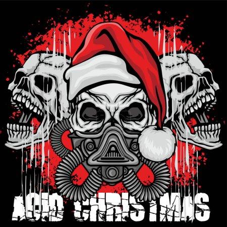 Illustration for Christmas skull-grunge.vintage design t-shirts - Royalty Free Image