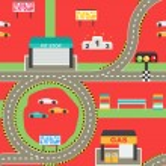 Постер, плакат: Seamless sport car racing track play background