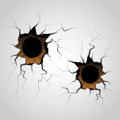 Bullet holes with cracks and surface destruction Vector texture template shooting a wepon decoration element crushed wall violent with gunshot
