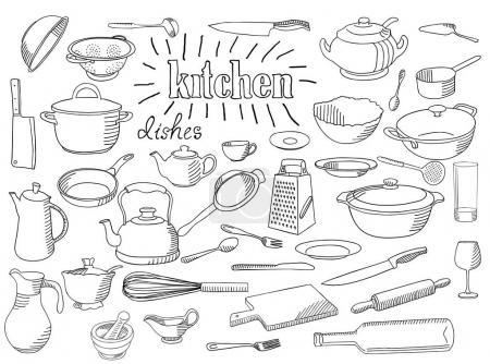 Large set of dishes.