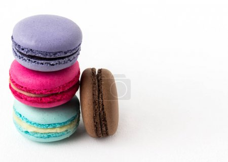 Photo for Set of colorful macaroons isolated on white background. Sweet macaroons - Royalty Free Image