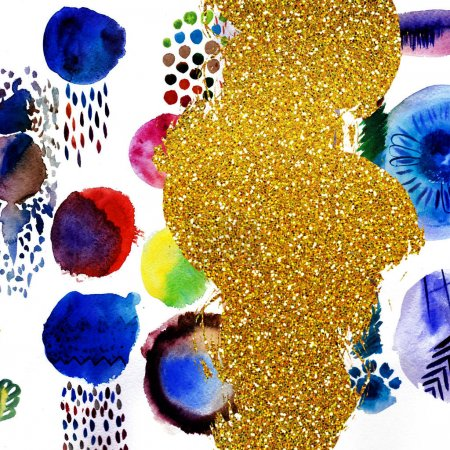 abstract design with bright watercolor elements and golden glitter