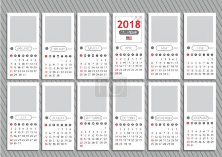 Calendar for 2018 with American flag