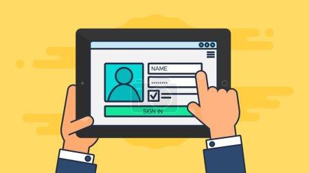 Illustration pour Web Template et des éléments de formulaire du site de connexion au compte sur tablette. Vector - image libre de droit