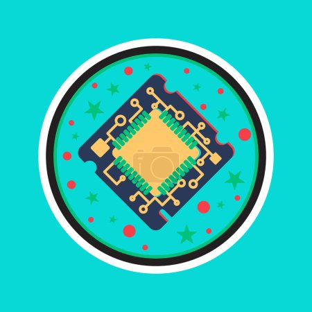 Illustration for Computer Processor Chip. Symbol of programmer hard work, system administrator activities, scientific innovation, technical advancements and robotics. High tech microprocessor. Vector - Royalty Free Image