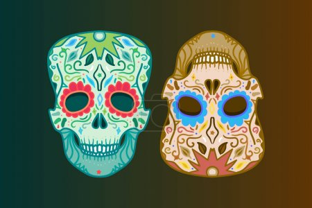 Illustration for Vector illustration design of Mexican Skull with ornament for print - Royalty Free Image