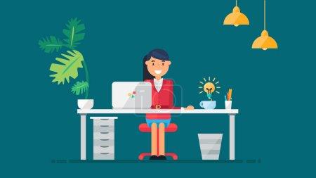 Illustration pour Espace de travail d'un développeur, programmeur, administrateur système ou concepteur professionnel. Idée créative. Projet d'entreprise ou concept de démarrage. Lieu de travail des employés. Vecteur - image libre de droit