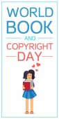 World Book and Copyright Day Vertical Banner Wtih Reading Girl Vector