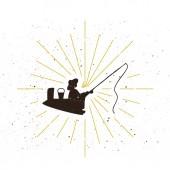 Retro fisher silhouette logo