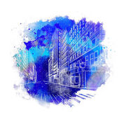 New York hand drawn vector on watercolor background