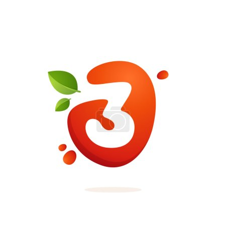 Number three logo in fresh juice splash with green leaves.