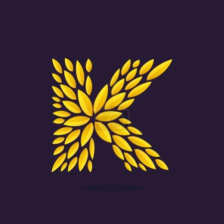 K letter logo formed by gold leaves.