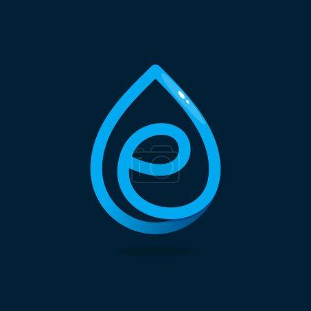 E letter logo in blue water drop.