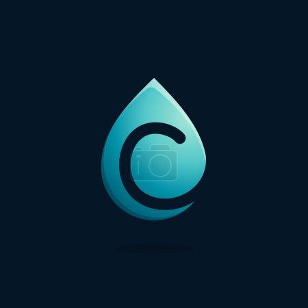 C letter logo in blue water drop.