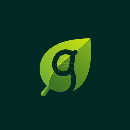 G letter logo in green leaf.