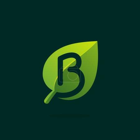 B letter logo in green leaf.