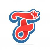 F letter logo with star in vintage baseball style