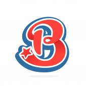 B letter logo with star in vintage baseball style