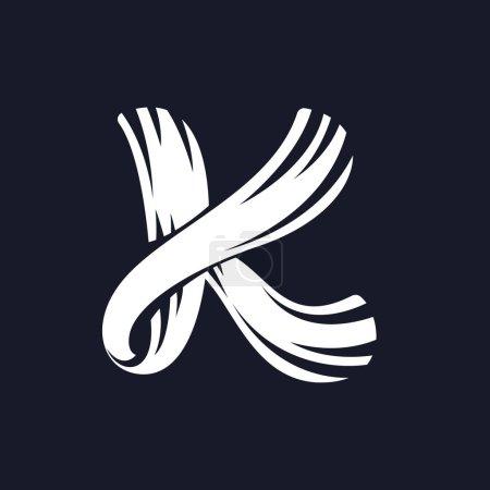 K letter logo script typeface.