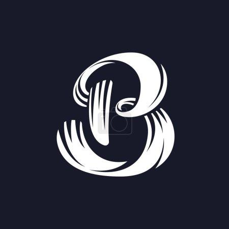 B letter logo script typeface.