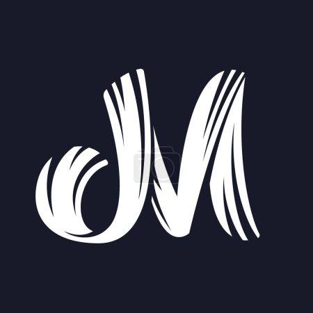 M letter logo script typeface.