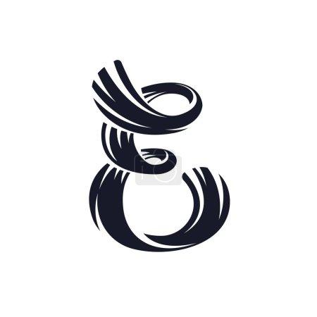 E letter logo script lettering. Vector elegant hand drawn letter