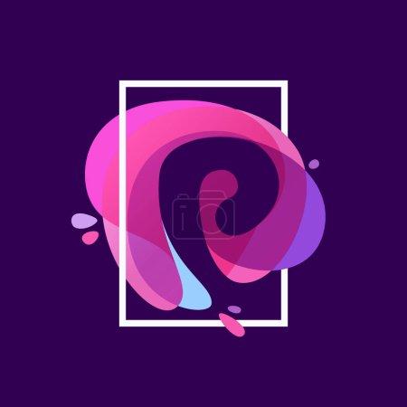 P letter logo in square frame at multicolor splash background.