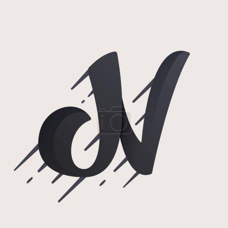 N letter logo. Fast speed vector script type.