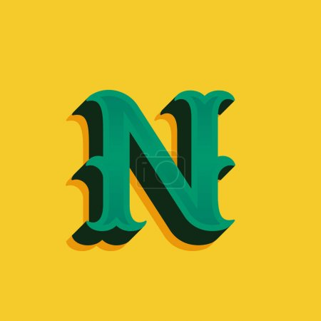 N letter logo in vintage money style with shadow.