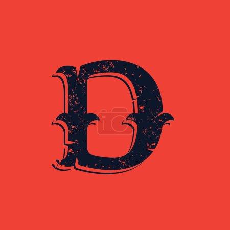 D letter logo in Vintage western victorian grunge style.
