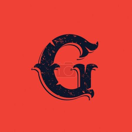 G letter logo in Vintage western victorian grunge style.