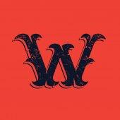 W letter logo in Vintage western victorian grunge style