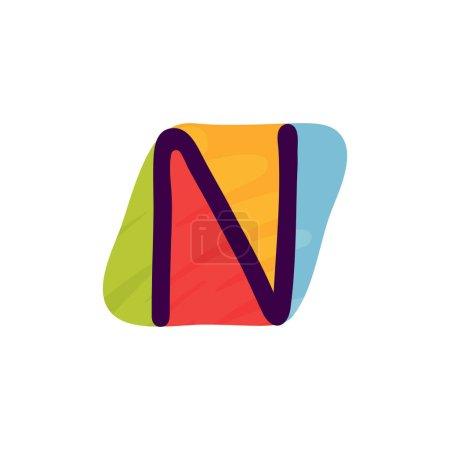 N lettre logo en papier pour enfants applique style. Parfait pour l'identité mignonne, drôle de paquet d'artisanat, affiche de vacances, etc. .