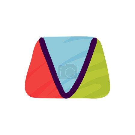 Logo lettre V en papier pour enfants applique style. Parfait pour l'identité mignonne, drôle de paquet d'artisanat, affiche de vacances, etc. .