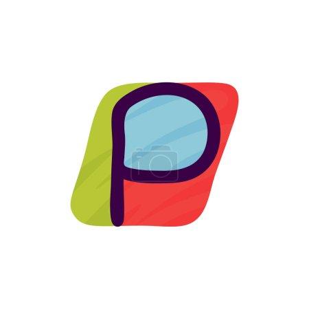 P lettre logo en papier pour enfants applique style. Parfait pour l'identité mignonne, drôle de paquet d'artisanat, affiche de vacances, etc. .